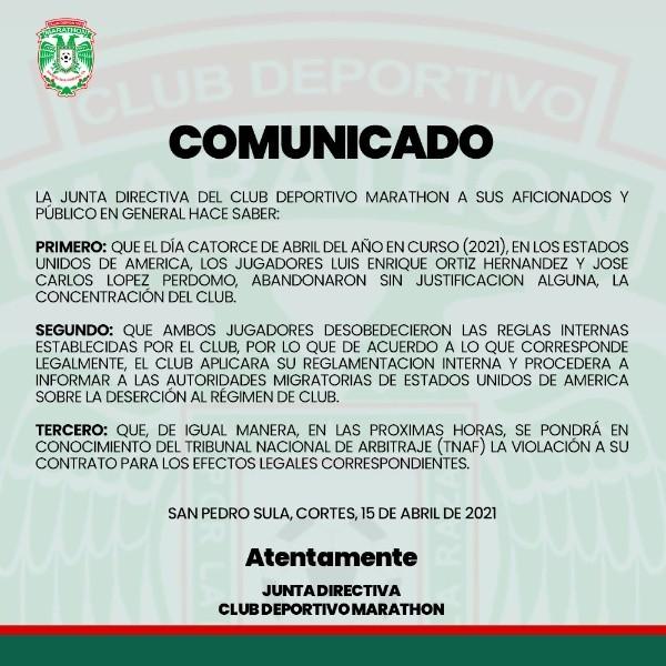 El comunicado completo que publicó Marathón en Twitter